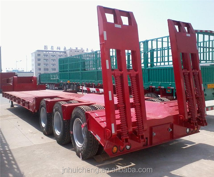 Designer Hot Sale 3 Axles Heavy Duty Lowbed Flatbed Semi Truck Trailer