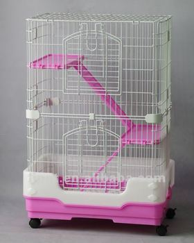 CH-95, pink blue coffe wire plastic 2 level Cat cage, luxury big cat cageThree color