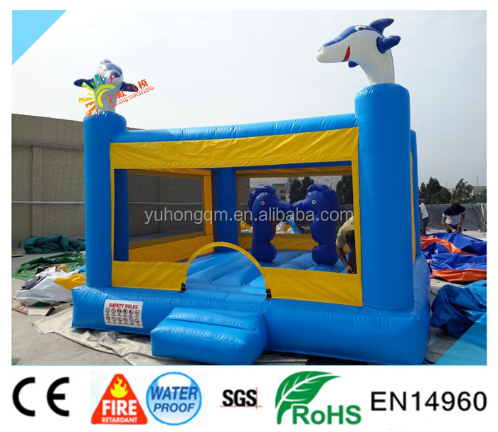 2016 dolphin bouncy castle ,yard and small bouncing hosue for kids