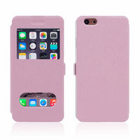 Silk grain protective sleeve PU case for iphne 6 mobile phone