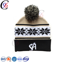 Chengxing wholesale custom cheap crochet babble flag pom beanie jacquard knitting embroidery patterns football fans hat
