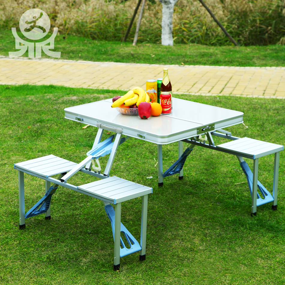 Simple style multi purpose 4 seater folding outdoor table with umbrella hole