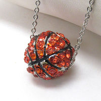 crystal round basketball necklace - sports