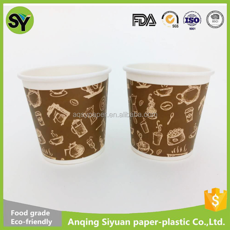 high quality 4oz popular design mini small size single wall paper coffee cups