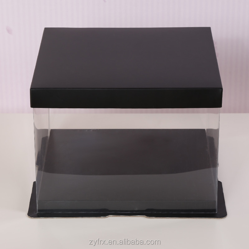 DECORATIVE BLACK CARDBOARD CAKE BOXES FACNY CARDBOARD PACKING CAKE BOXES WITH CLEAR WINDOW