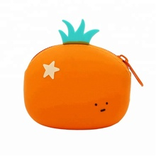 Candy Colored Silicone Coin Wallet Mini Purse Soft Surface Fastener Female Fruit Silicone Coin Bag with Zipper