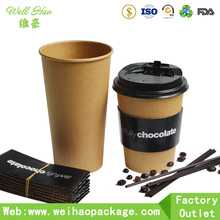 Disposable PE coated Hot Chocolate and coffee paper cup