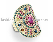 Large Medallion Curve Multi-color Crystal Rhinestone Stretch Ring Fashion Jewelry