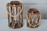 12B203-L --large size wood/glass hurricane pillar round hemp rope lantern