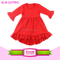 2016 Latest Design Ruffle Sleeve Baby Cotton Frocks Design Baby Girl Party Dress Red Kids High Low Top Dress