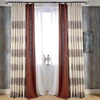 chinese style 100% polyester embroidered linen curtain