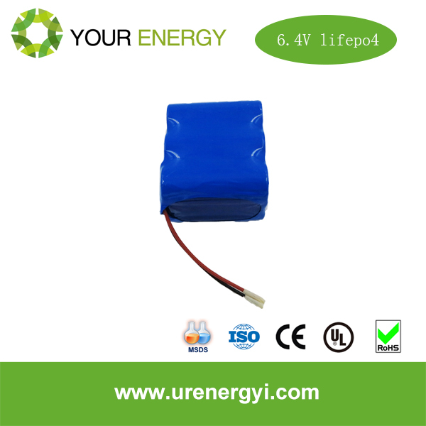 low self discharge current 6.4v lifepo4 rechargeable battery pack from URE factory