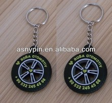 3D Plastic Car Tire Key Chain, 3D Rubber Rail Tyre Key Holder, PVC Vehicle Wheel Keyring