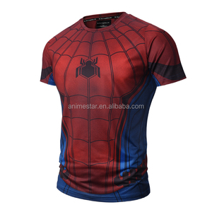 For Adult Spider Man Cartoon Tights Wholesale Printed Anime Short Sleeve T Shirt