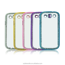 High quality bling bling diy sublimation 2d blank cell phone case for Samsung S3