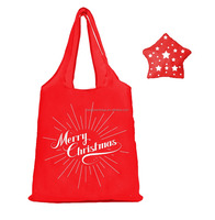 Beautiful Christmas star foldable shopper tote gift polyester bag with cute shape pouch