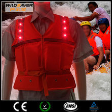 High quality LED life jacket hi vis floating in the water