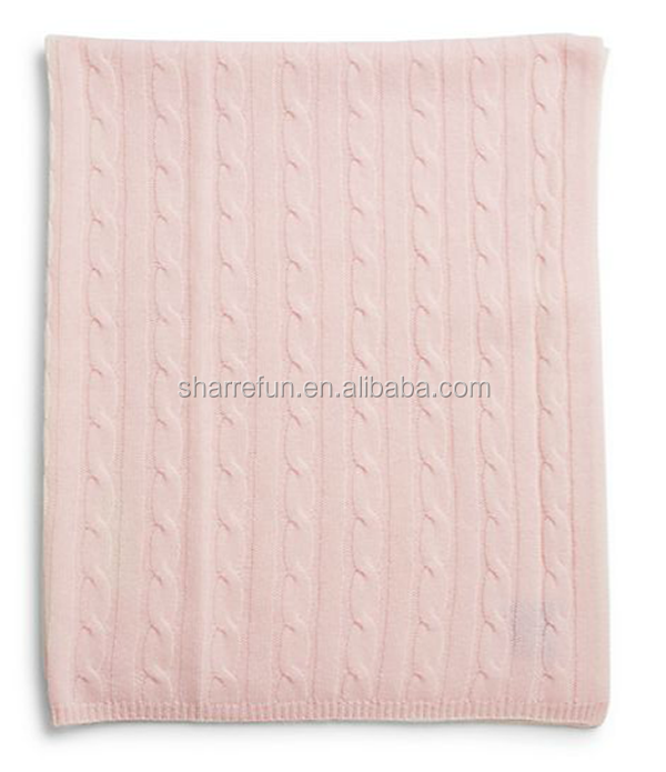 factory wholesale baby 100% cashmere cable knit blankets