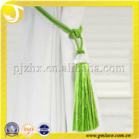 Green Crystal Beads Curtain Tassel Tiebacks with Organza Ribbon Skirt Outside
