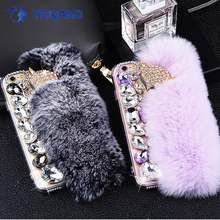 Lovely Rhinestone Mink Hairball Ladies Mobile Phone Covers For iPhone7, Winter Plush Warm Phone Case For iPhone 7