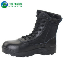 Delta force back side zipper leather safety combat police military boots