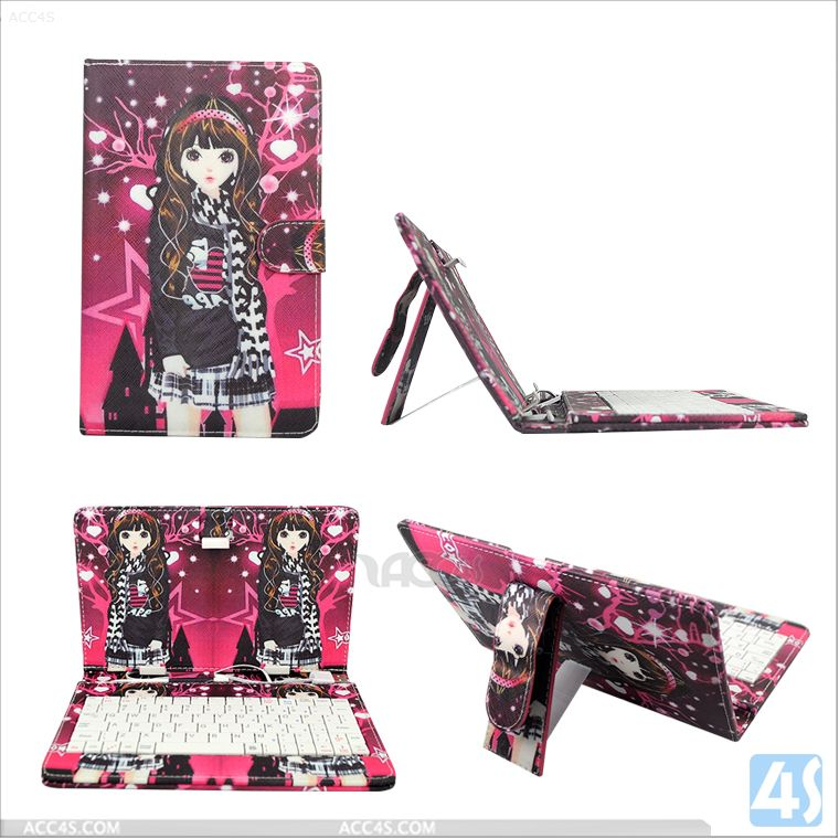 7'Tablet Keyboard Cartoon Girl Print Universal Leather Flip Case For All 7 Inch Tablet PC USB Keyboard --P-UNI7TABCASE015
