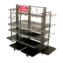 Free Design Large Wheeled Clothing Store Powder Coated Retail Store Clothes Display Fixtures