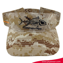 outdoor activities camo pattern cool visor caps with fish skull logo 2D embroidery