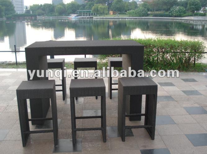 Moderne bar ensemble de meubles patio wicker bar set for Set de table en osier