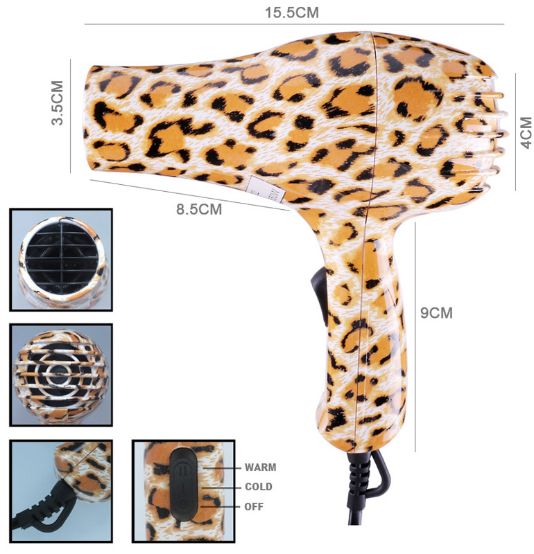 Compact Leopard Printing Mini Hair dryer