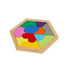 PlayMaty Colorful Wooden Tangram Puzzle Heart Shape Montessori Educational Toys For Children DIY Math Toy Jigsaw Puzzles Kids
