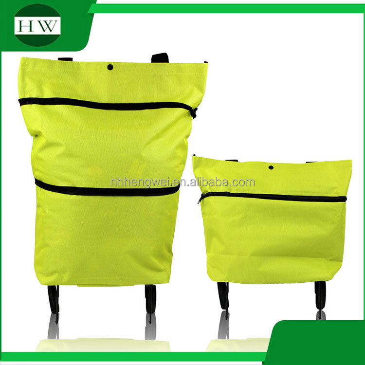 custom supermarket oxford woven eco recycle reusable tote collapsible folding foldable shopping trolley bag with zipper 2 wheels