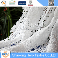 Hero embroidery fabric 100%polyester for women weeding dress chemical lace keqiao