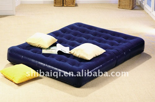 Inflatable double size flocked air mattress