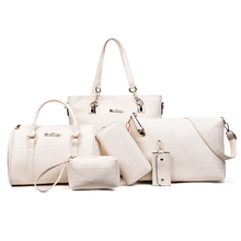 China suppliers 6 piece in 1 set PU leather women handbags ladies hand bags