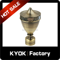 KYOK 2016 new design curtain rod finial circle ball style metal cheap price curtain finials