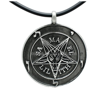 Black Inverted Pentagram Satanic Sabbatic Goat Lucifer Pendant