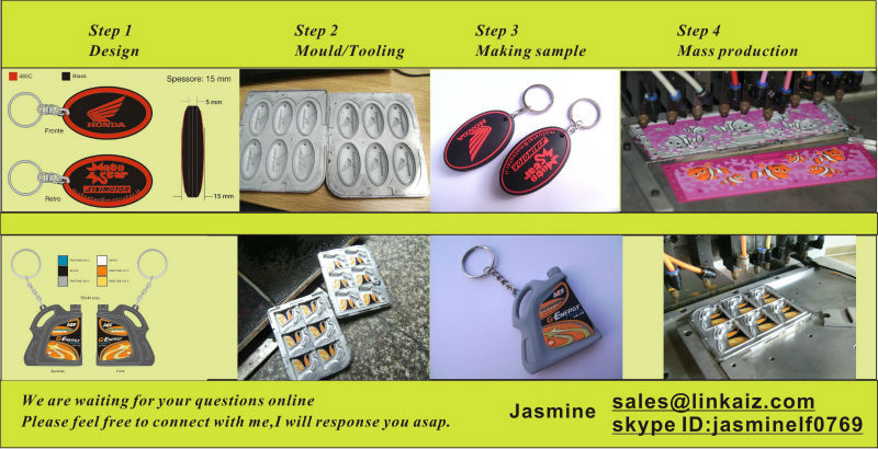 Custom made pvc rubber wedding souvenir keychain