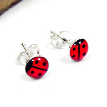 Red Studs Ear Piercing Earrings Stainless Steel Studex