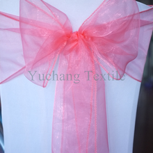 "8""*108"" Peach color sheer chair sash organza bow party decoration"