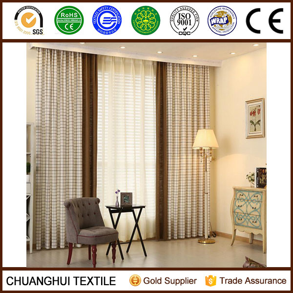 England style yarn dyed grid jacquard fabric curtain