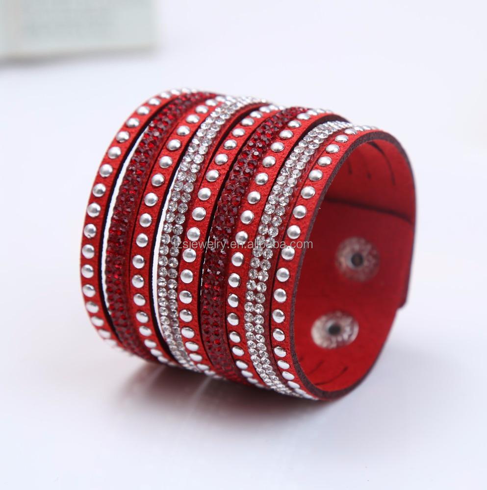 Wholesale Cheap Men Leather Cuff Bracelet With Rivets