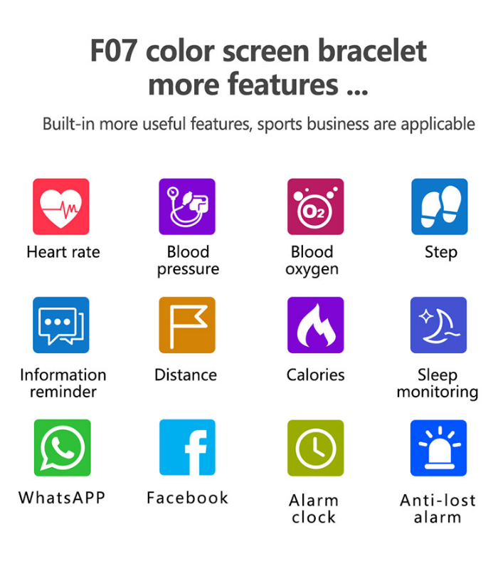 F07 Smart Bracelet bluetooth sports health smart band for ios and android smart wrist band