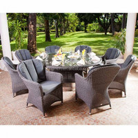 Dark grey elegant french royal style ratan wicker garden dining set cebu rattan furniture