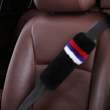 Customized New Design Russia Flag Natural Comfort Auto Authentic Sheepskin Car Seat Belt Pads, Wool Soft Texture Shoulder Cover