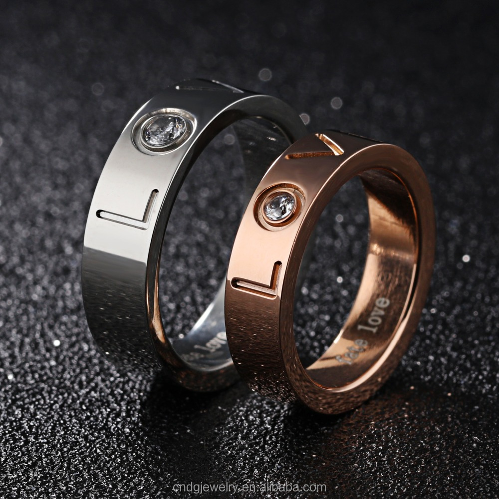 Wholesale Jewelry Stainless Steel 14k Gold Ring Love Fashion Love Symbol Ring
