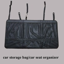 Black hanging car back seat organizer with tray