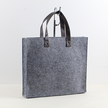 Cheap Square Felt Office Bag With Leather Handle