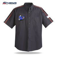 Custom 100% polyester race crew shirts sublimation racing pit crew shirt wholesale