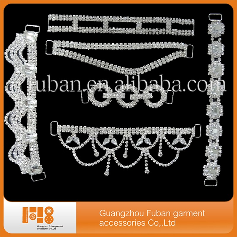 2017 Hot Sale!High Quality Metal Accessories Swimwear Crystal Rhinestone Bikini Connectors Wholesale